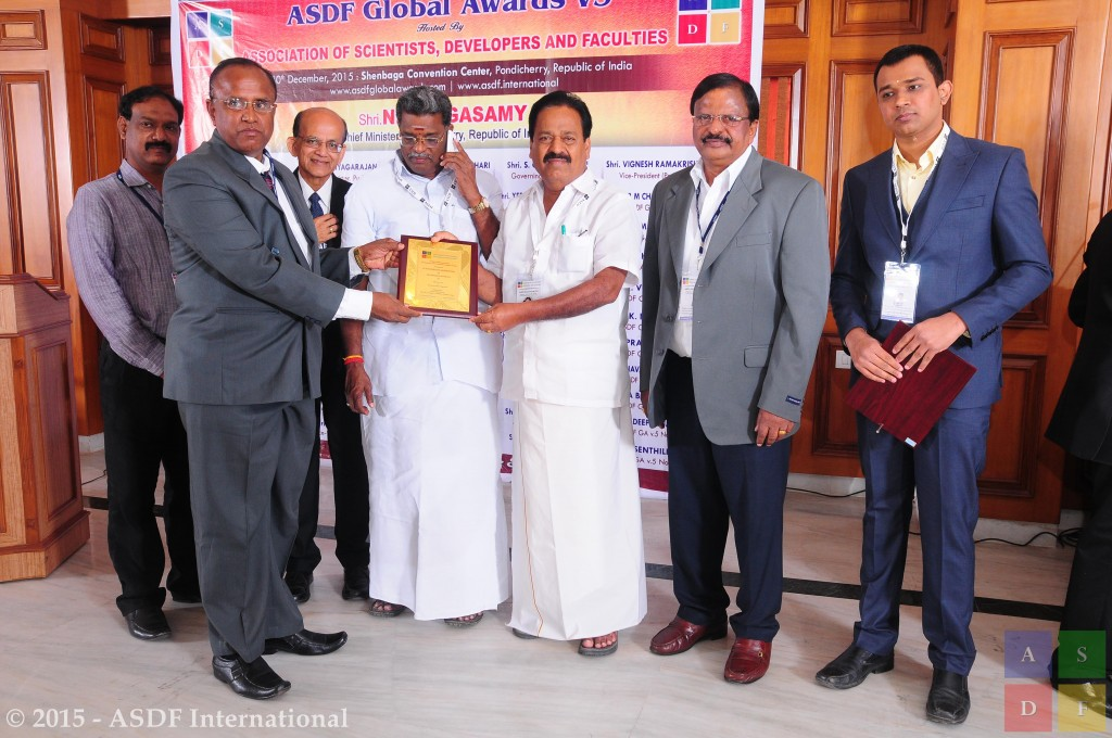 P Navaneethakrishnan ASDF Global Awards 2015