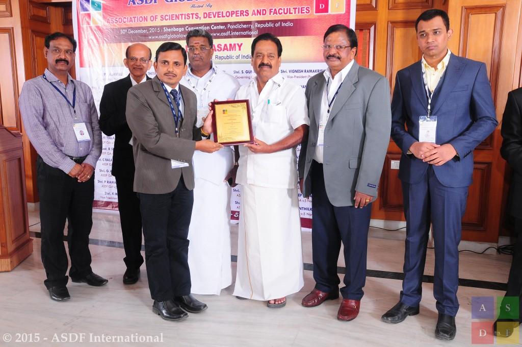 P Sudhakar ASDF Global Awards 2015