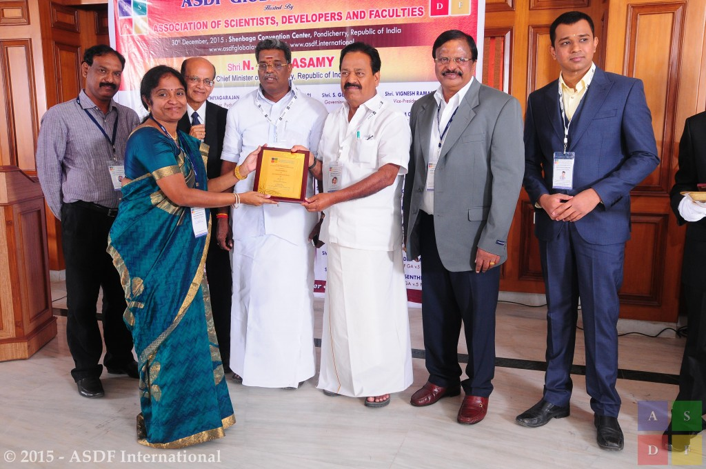 Poovammal E of SRM University at ASDF Global Awards
