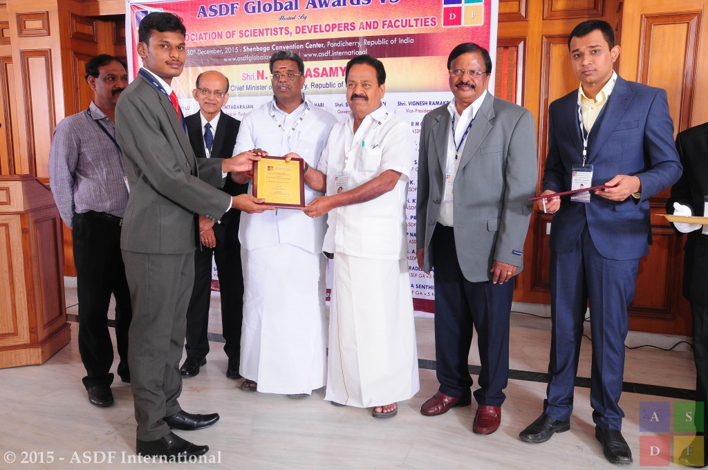 Ramanidharan Palanisamy @ receiving award 2015