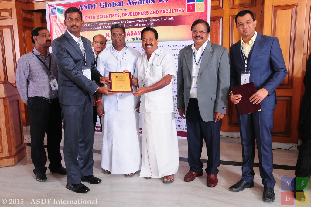 V C Sathish Gandhi @ receiving award 2015