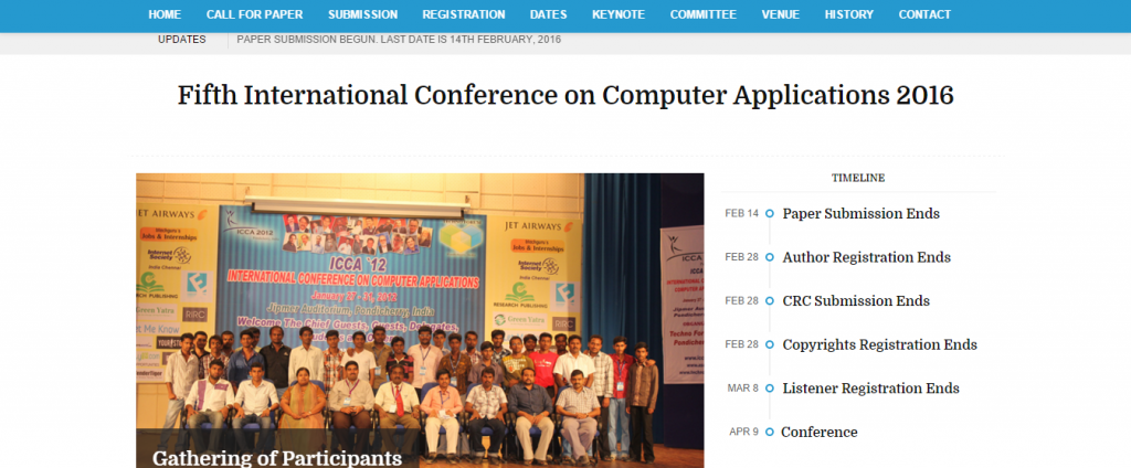 International Conference on Computer Applications 2016