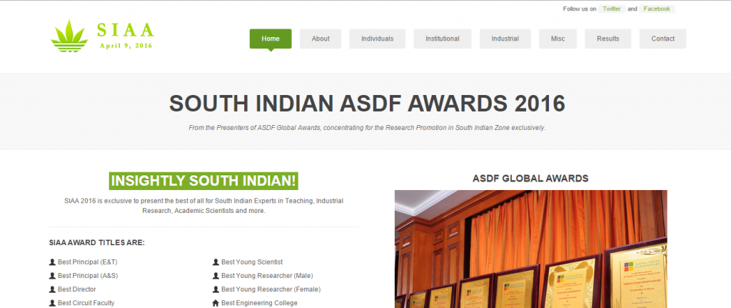 South Indian ASDF Awards 2016