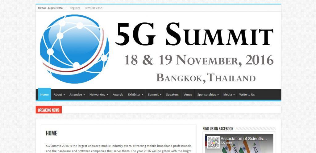 5G Summit 2016 Thailand